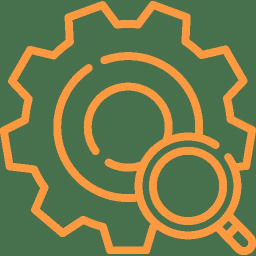 Ein Icon mit einer Lupe und einem Einstellungszahnrad.